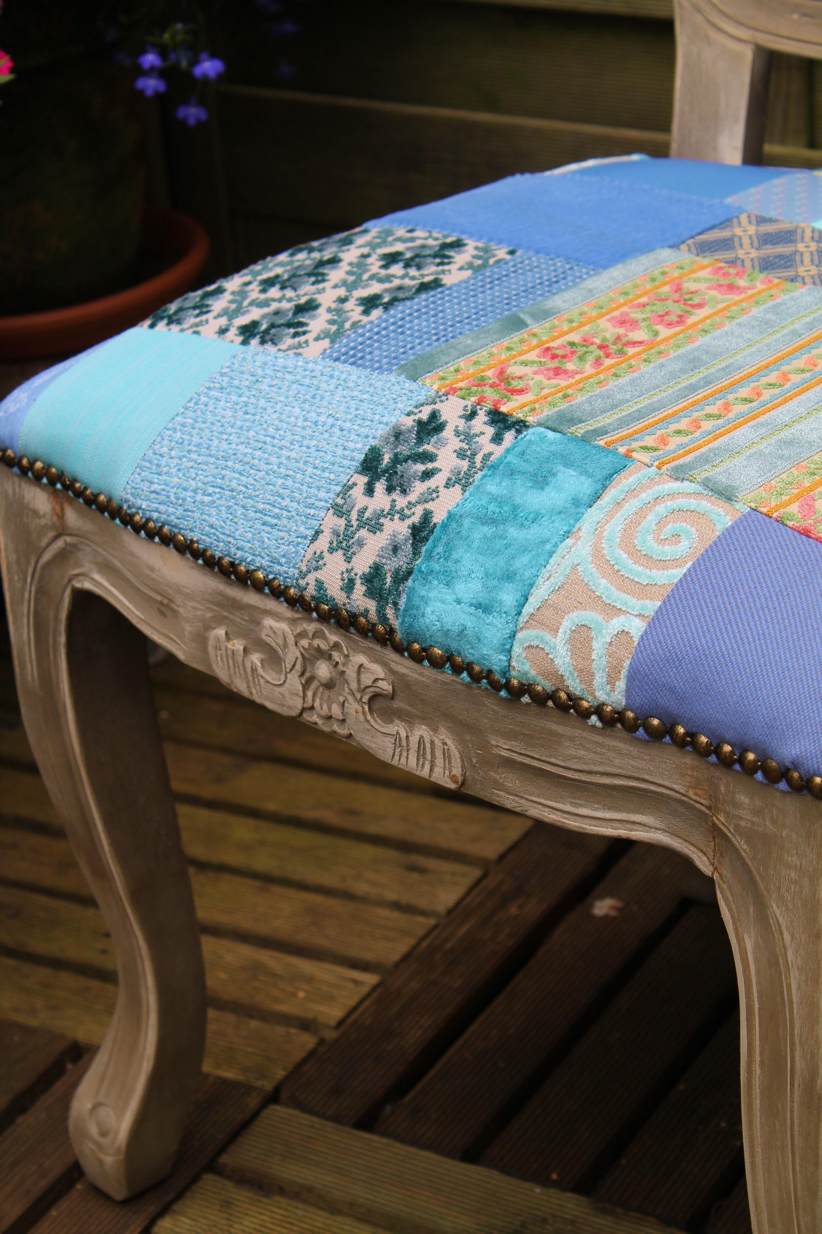 Uitzonderlijk Queen Anne eetkamerstoel in patchwork stijl (blauw) | AN82